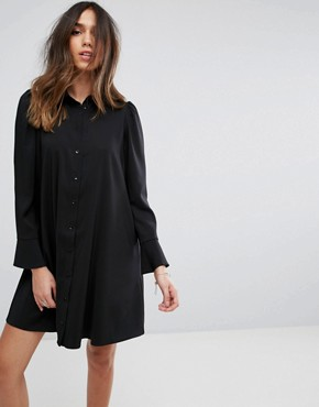 photo Long Sleeve Mini Shirt Dress by ASOS DESIGN, color Black - Image 1