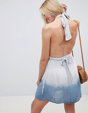 photo Ombre Macrame Fringe Beach Dress by ASOS DESIGN Tall, color Ombre Blue - Image 2