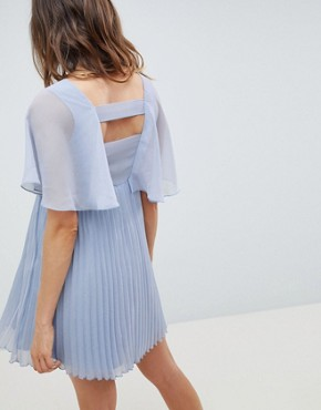 photo Maternity Mini Dress with Pleat Skirt and Flutter Sleeve by ASOS DESIGN, color Dusty Blue - Image 2