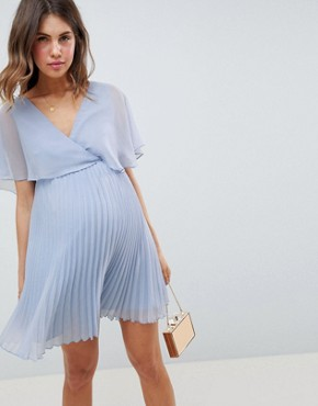 photo Maternity Mini Dress with Pleat Skirt and Flutter Sleeve by ASOS DESIGN, color Dusty Blue - Image 1