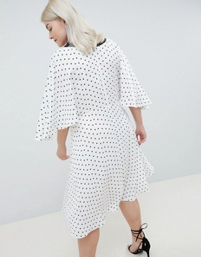 photo Exclusive Spot Lace Trim Kimono Midi Dress by ASOS DESIGN Curve, color Mono - Image 2