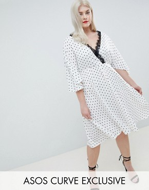 photo Exclusive Spot Lace Trim Kimono Midi Dress by ASOS DESIGN Curve, color Mono - Image 1