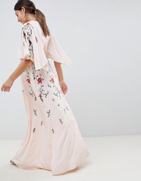 photo Maternity Embroidered Maxi Dress with Flutter Sleeve by ASOS DESIGN, color Nude - Image 2