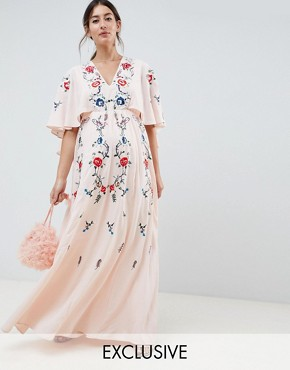 photo Maternity Embroidered Maxi Dress with Flutter Sleeve by ASOS DESIGN, color Nude - Image 1