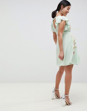 photo Maternity Embroidered Skater Dress with Flutter Sleeve by ASOS DESIGN, color Pastel Green - Image 2