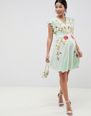 photo Maternity Embroidered Skater Dress with Flutter Sleeve by ASOS DESIGN, color Pastel Green - Image 1