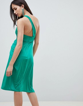 photo One Shoulder Slinky Drape Front Midi Dress by ASOS DESIGN, color Green - Image 2