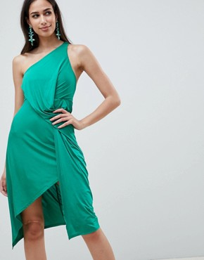 photo One Shoulder Slinky Drape Front Midi Dress by ASOS DESIGN, color Green - Image 1