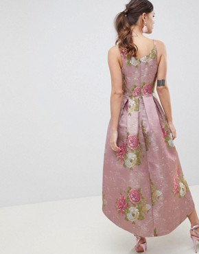 photo Beautiful Floral Jacquard Midi Prom Dress by ASOS EDITION, color Multi - Image 2