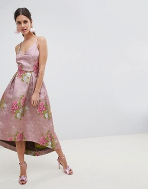photo Beautiful Floral Jacquard Midi Prom Dress by ASOS EDITION, color Multi - Image 1