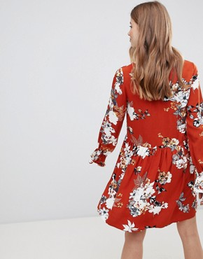 photo Floral Smock Dress by Vila, color Roasted Pecan - Image 2