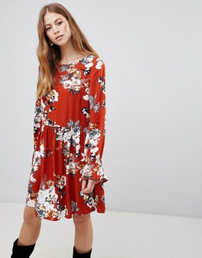 photo Floral Smock Dress by Vila, color Roasted Pecan - Image 1