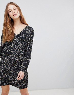 photo Floral V-Neck Dress by Vila, color Black - Image 1