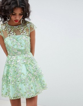 photo Sequin Embroidered Skater Mini Dress by ASOS EDITION, color Green - Image 1
