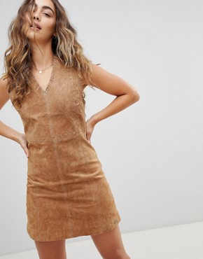 photo New Clare Real Suede Dress by Pepe Jeans, color Cognac - Image 1