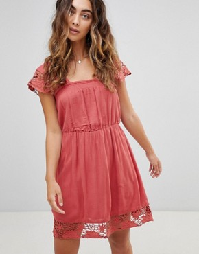 photo Wendy Lace Hems Dress by Pepe Jeans, color Auburn - Image 1