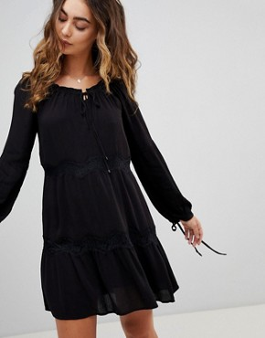 photo Ander Tie Sleeve Dress by Pepe Jeans, color Black - Image 1