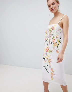photo Embroidered Cami Slip Midi Dress by ASOS DESIGN, color Soft Lilac - Image 1