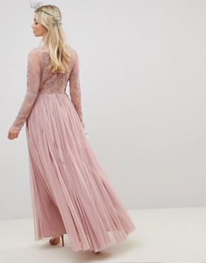 photo Bridesmaid Embroidered Mesh Long Sleeve Maxi Dress by ASOS DESIGN, color Nude - Image 2