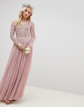 photo Bridesmaid Embroidered Mesh Long Sleeve Maxi Dress by ASOS DESIGN, color Nude - Image 1