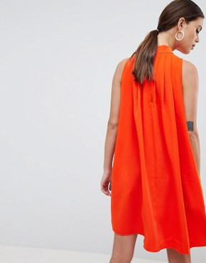 photo High Neck Sleeveless Swing Dress by Y.A.S, color Orange - Image 2