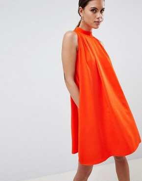 photo High Neck Sleeveless Swing Dress by Y.A.S, color Orange - Image 1
