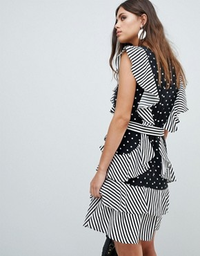 photo Dot and Stripe Ruffle Dress by Y.A.S, color Multi - Image 2