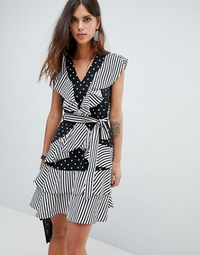 photo Dot and Stripe Ruffle Dress by Y.A.S, color Multi - Image 1