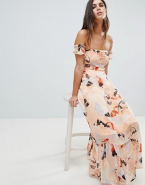 photo Brush Print Bardot Midi Dress with Ruffle Hem by Y.A.S, color Multi - Image 1
