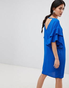 photo Shift Dress with Ruffle Sleeve by Y.A.S, color Blue - Image 2
