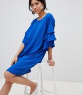 photo Shift Dress with Ruffle Sleeve by Y.A.S, color Blue - Image 1