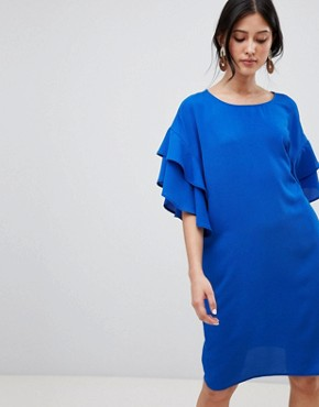 photo Shift Dress with Ruffle Sleeve by Y.A.S, color Blue - Image 4