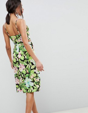 photo Button Through Cut Out Midi Sundress in Tropical Print by ASOS DESIGN, color Multi - Image 2