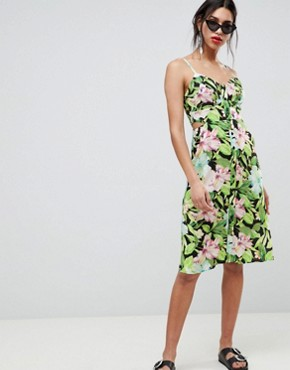 photo Button Through Cut Out Midi Sundress in Tropical Print by ASOS DESIGN, color Multi - Image 1