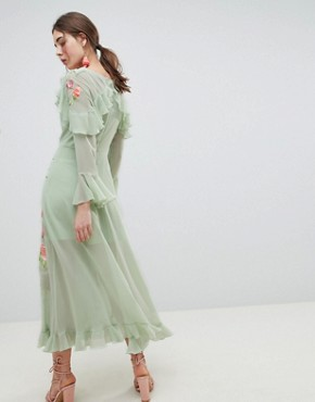 photo Embroidered Wrap Maxi Dress by ASOS DESIGN, color Sage Green - Image 2