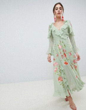 photo Embroidered Wrap Maxi Dress by ASOS DESIGN, color Sage Green - Image 1