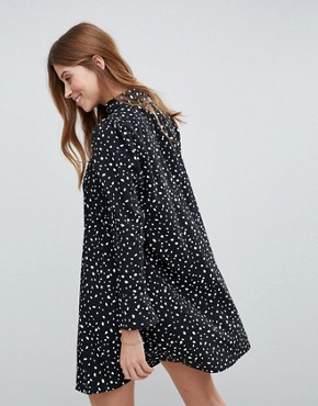 photo Long Sleeve Shirt Mini Dress in Scatter Spot by ASOS DESIGN, color Black - Image 2