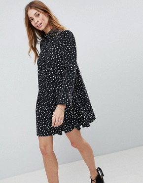 photo Long Sleeve Shirt Mini Dress in Scatter Spot by ASOS DESIGN, color Black - Image 1