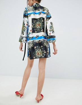 photo Scarf Print Wrap Dress with Piping by ASOS DESIGN, color Multi - Image 2