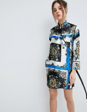photo Scarf Print Wrap Dress with Piping by ASOS DESIGN, color Multi - Image 1