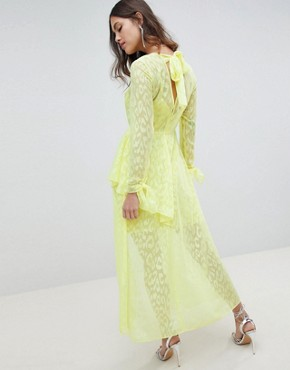 photo V-Front Maxi Dress with Ruffles in Animal Self Jacquard by ASOS DESIGN, color Yellow - Image 2