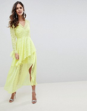 photo V-Front Maxi Dress with Ruffles in Animal Self Jacquard by ASOS DESIGN, color Yellow - Image 1