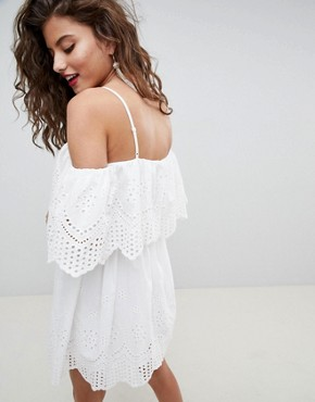 photo Double Layer Off Shoulder Mini Dress in Broderie by ASOS DESIGN Premium, color White - Image 2