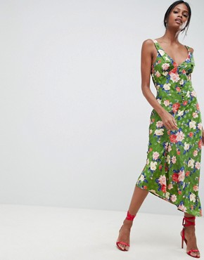 photo Button Through Floral Midi Jacquard Slip Dress by ASOS DESIGN, color Multi - Image 1