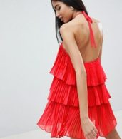 photo Tiered Pleated Beach Dress by ASOS DESIGN, color Red - Image 2