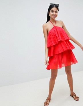 photo Tiered Pleated Beach Dress by ASOS DESIGN, color Red - Image 4