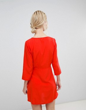 photo Tie Front Shift Dress by Vero Moda, color Poppy Red - Image 2