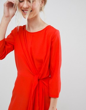 photo Tie Front Shift Dress by Vero Moda, color Poppy Red - Image 3