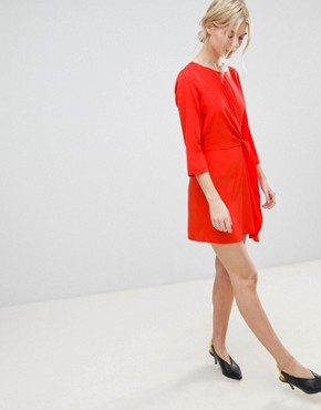photo Tie Front Shift Dress by Vero Moda, color Poppy Red - Image 4