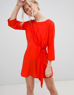 photo Tie Front Shift Dress by Vero Moda, color Poppy Red - Image 1